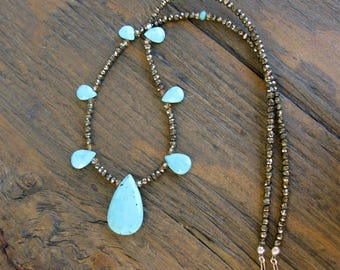 Arizona turquoise necklace, pyrite necklace, unique turquoise necklace