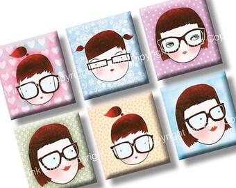 4x6 Geek School Girls collage sheet scrabble tile size images. 0.75x0.83 inch squares for scrabble pendants. Digital download