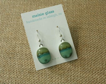 Seascape glass earrings, aqua earthy glass, dangly, beach jewelry, sea glass