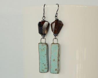 Rustic Glamour, Brown Stone Earrings, Andalusite Earrings, Ceramic Art Bead Earrings, Baby Blue Earrings, Primitive Jewelry, Pobbletoes
