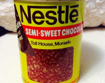 Vintage Nestle Chocolate Chip Cookie Tin Canister 1980s Semi Sweet Morsels