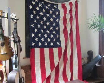 "Large Vintage American Flag -  50 Star Flag - Cotton with Appliqued Stars - Valley Forge Flag Co 58"" x 112"""