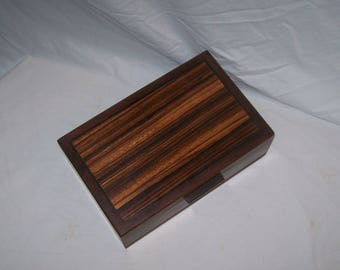Humidor Walnut box with a  Zebra Wood inlayed top Handcrafted Keepsake box