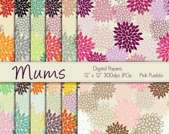 BACK TO SCHOOL Sale Digital Papers Printable Papers Scrapbook Papers - Mum Flowers - Commercial and Personal Use