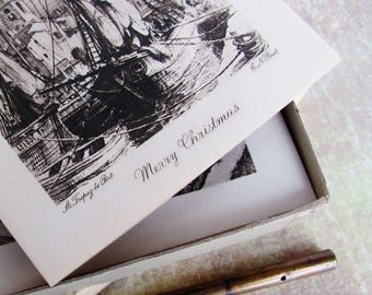 Vintage Christmas Cards Etching Prints 1943 Boxed Set Copper Plate Engraved Etchings European Scenes 1920s-30s Artists 11 Cards Envelopes