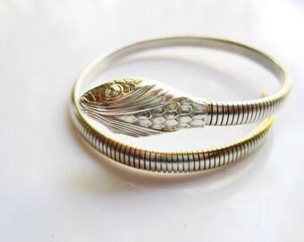 Forstner Snake Bracelet Sterling Silver Single Coil Serpent Bangle, Signed Snake Jewelry
