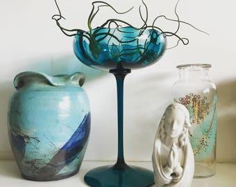 Vintage Blue Glass Pedestal Dish