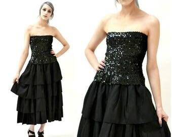 SALE 80s Vintage Prom Dress Black Sequin Dress Strapless Small Medium// Vintage Black Strapless Sequin Dress 80s Prom Party Flirtations j42