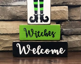 """Witches Welcome """" chunky"""" Halloween stacker"""