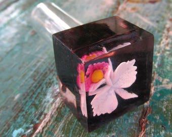 1930s Carved Lucite and Glass Perfume Vile Bottle Glass Dauber VINTAGE Mini Pocket Size