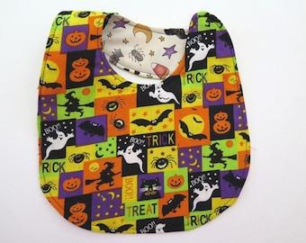 Reversible Halloween Bib - Dem Bones and Spooky Cats