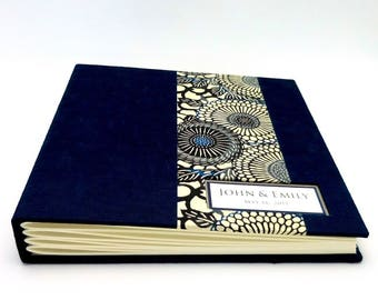 Custom made Photo Album, Dark Navy with Jumbo Mum Stencil design, Choose Your Size, Personalize it