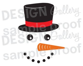 Snowman Face - SVG, DXF cut & JPG, png image files - Christmas Santa Rudolph Red Nose Flowers Antlers - Printable Digital Iron On