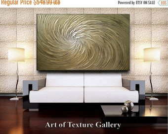 SALE 68 x 40 HUGE Custom Original Abstract Texture Modern Sage Olive Gold Silver Floral Metallic Carved Sculpture Knife Oil Painting by Je H