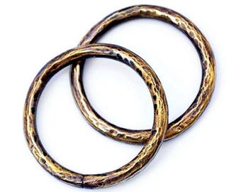 Hammered Gauged Hoops Brass
