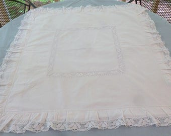 Victorian Pillow Sham with Lace and Buttonhole Embroidery - White on White - 31 x 33 Inches - Buttoned Pillow Envelope in the Back - NC