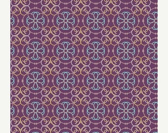 SALE 10% Off - Mosaic in Purple BA-309 - BAZAAR Style - Patricia Bravo for Art Gallery Fabrics - By the Yard