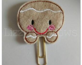 Planner clip, bookmark, planner feltie clip, felt bookmark, gingerbread feltie clip,  gingerbread boy clip, cookie boy, Christmas in July