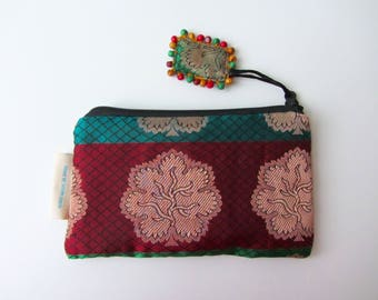 ready to ship silk up cycled indian brocade tree of life small zipper silk pouch lunch money