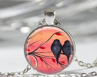 ON SALE Bird Necklace Love Birds Lovebird Jewelry Romantic Sunset Nature Art Pendant in Bronze or Silver with Link Chain Included
