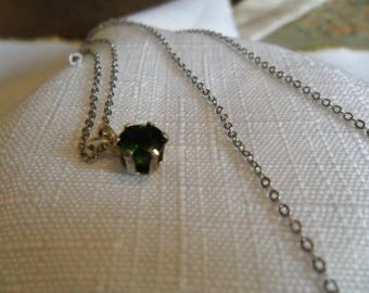 Vintage Sterling Silver Chrome Diopside Necklace
