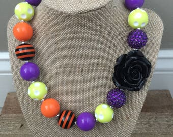 Halloween Chunky Bubblegum Bead Necklace with Rose