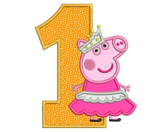 PEPPA Pig Ballerina Number 1, birthday, tshirt, bag - Machine Applique Embroidery - Instant Digital Download