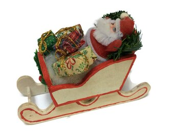 Vintage Flocked Santa Claus In Wooden Sleigh, Vintage Christmas Holiday Decor Decoration Ornament