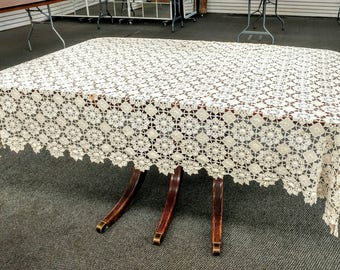 "Beautiful Antique Hand Crocheted Tablecloth Table Linen 78"" x 56"""