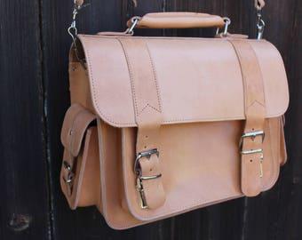 Leather messenger, camera bag, greek leather satchel, tan messenger