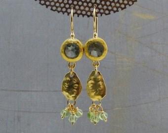 Blue Topaz Gold Earrings / 22k Gold Earrings / Peridot Gold Earrings / BlueTopaz Dangle Earrings