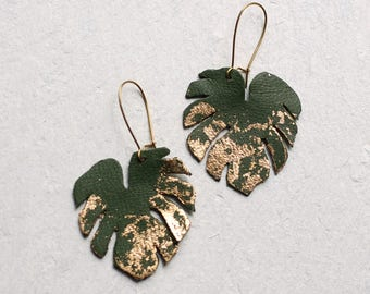 Palm Leaf Earrings ... Festival Tropical Gold Green Leaf Earrings