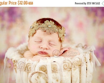 12% off Vintage headband, Baby headband, newborn headband, adult headband, and photo prop The single sprinkled- vintage flower trim headband