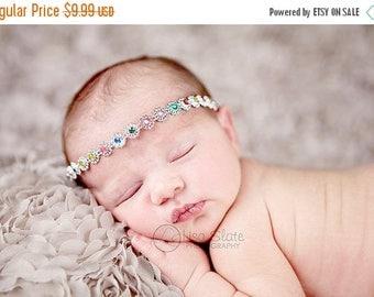 12% off Vintage headband, Baby headband, newborn headband, trim headband, adult headband, and photo prop Faux diamond trim headband