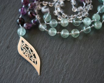 Fluorite Necklace, Silver Filigree Necklace, Purple Hand Knotted Necklace, Green Stone Necklace,