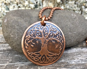 Celtic tree, etched copper necklace, tree of life