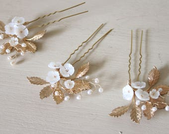 Set of 3 floral hair pins, wedding hair pins, gold hair pins, mother of pearl hair pins, bridal hair pins