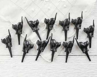 Halloween Cupcake Picks - 12 Plastic Miniature Black Cats