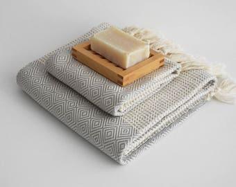 NEW / SET / Diamond Style Turkish Beach Bath Towel Peshtemal and Head-Hand Towel / Wedding Gift, Spa, Swim, Pool Towels and Pareo