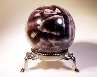 Chevron Amethyst Sphere - ON SALE, crystal ball, gazing ball, witches ball, scrying tool, altar decor, meditation, crystal healing