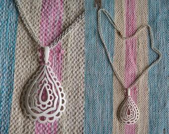 Vintage 70's Statement Necklace White Moroccan Necklace Paisley Boho Hippy Bohemian Necklace Gypsy Teardrop Large Long Necklace