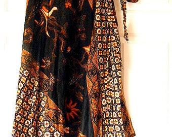 Vintage African batik Print tribal Wrap Skirt