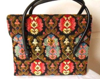 Vintage 60's carpet tapestry Handbag