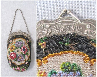 THE BEAD GOES On Vintage 20s Purse   1920's Beaded Floral Bag   Glass Beads, German Silver Frame   Flapper Great Gatsby, Art Deco, Victorian