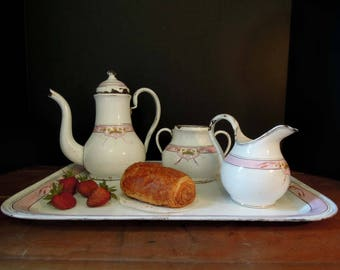 Vintage French White and Pink Enamel Coffee Pot Tray Creamer and Sugar / French Enamel / stic French Farmhouse Decor