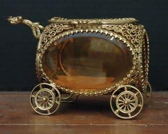 Antique Amber Glass Jewelry Casket Box / Beveled Glass Flip Lid / French Decor / Jewelry Display