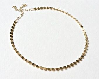SALE - Disc Choker, Gold Coin Choker, Gold Choker Necklace, Tattoo Choker, Dainty Gold Necklace Choker, 14k Gold Filled or Sterling Silver