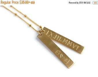 SALE - Roman Numeral Necklace, Personalized 1 2 3 4 Vertical Bar Necklace, Custom Gold Bar Name Necklace, Mothers Jewelry, Gold or Sterling