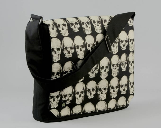 Skulls Large Black Canvas Messenger Bag, 13 - 15 Inch Laptop, Realistic Skulls, Tablet Phone Zipper Pockets, Ready To Ship