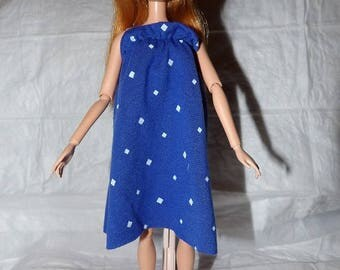 Royal blue & white diamond printed float knit sun dress for Fashion Dolls - ed959